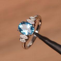 Emerald Cut Rings, Blue Sapphire Rings, Blue Topaz Ring, Blue Rings, Aquamarine Rings, Vintage Engagement Rings, Diamond Engagement Rings, Promise Rings For Her, Silver Wedding Rings