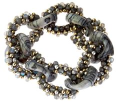 Meredith Frederick Elsa Agate Gold and Silver Roll-On Link Bracelet