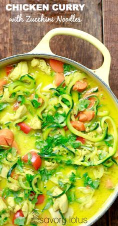 Chicken Curry with Zucchini Noodles - www.savorylotus.com