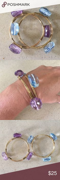 "BANGLE SET Gently worn a few times.  Love this set!  Bought at a local boutique. Acrylic stones in purple and blue.  I believe the bangles are made of brass.(not positive). And there is 3 bangles in each bracelet so it is not flimsy.  They are about 8.0"" in diameter.  TRADESLOWBALL OFFERS Jewelry Bracelets"