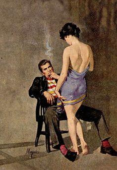 The solution is. Romance Art, Vintage Romance, Pulp Fiction Art, Pulp Art, Pub Vintage, Vintage Art, Serpieri, Etiquette Vintage, Robert Mcginnis