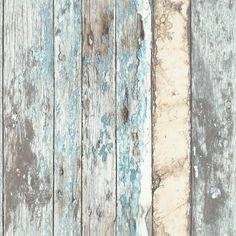 Sloophout vliesbehang Bruin / Blauw bij Behangwebshop Behangwebshop: € 26,95 per rol 0.53 x 10 meter. Doorlopend patroon.