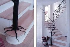 Forest-y bannister. I would love to have this in my home, but with different stairs of course.