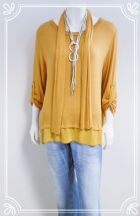 Lagenlook split button back casual top in mustard fits 10-16