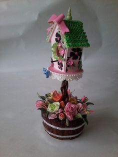 Romantic Country Birdhouse Cake Topper