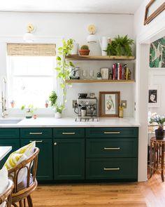 Most Popular Dark Green Kitchen Cabinets Light Fixtures Home Decor Kitchen, Kitchen Furniture, Kitchen Interior, Home Kitchens, Kitchen Ideas, Dream Kitchens, Small Kitchens, Cheap Furniture, Kitchen Tips
