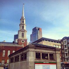 Boston's Photo of the Day! 1.11.13 Park Street T station Boston MA, a beautiful sunny Friday in Boston. #bostonusa