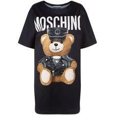 Moschino Teddy Print T-Shirt Dress ($795) ❤ liked on Polyvore featuring dresses, tee dress, t shirt dress, print dress, loose fitting dresses and pattern dress