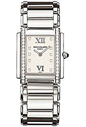 """Patek Philippe Twenty 4 Diamond Ladies Watch - 4910/10A-011- Quartz movement Caliber E15 Twenty~4® Medium Case set with 36 diamonds (~0.45 ct.) Dial """"Timeless White"""", diamond hour markers and gold applied Roman numerals Steel bracelet Fold-over clasp Water resistant to 30 m Stainless steel Case dimensions: 25 x 30 mm.(affiliate link)"""