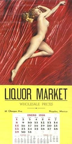 1956: Calendar (January) Marilyn Monroe – Liquor Market …. #marilynmonroe #pinup #monroe #normajeane #iconic #sexsymbol #hollywoodlegend #hollywoodactress #1950s #vintagecalendar