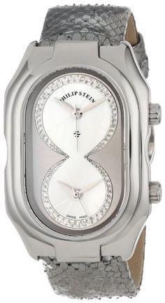 "Philip Stein Women's 11-IPTW-PGS ""Prestige"" Diamond-Accented Stainless Steel Watch with Grey Python Strap"