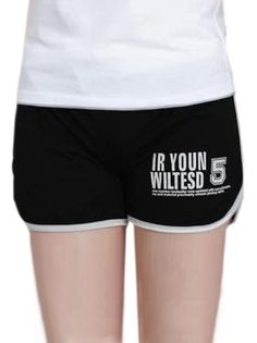Cozy Letter Printed Sport Style Leisure Candy Color Short Pants on buytrends.com