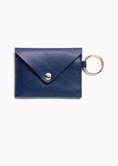 & Other Stories image 1 of Leather Envelope Card Holder in Dark Blue