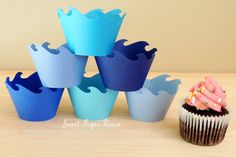 48 Wave Cupcake Wrappers Six Shades of Blue (Cardstock) (Summer Spring Party Ocean Water Pool Shark Fin Fish Whale Dolphin Fin) on Etsy Whale Party, Dolphin Party, Ocean Party, Dolphin Fin, Dolphin Birthday Parties, Baby Birthday, Birthday Ideas, Mermaid Cupcakes, Shark Cupcakes