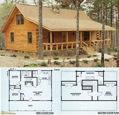 Small Log Home Plans Unique Small Cabin House Plans In 2019 Log Cabin Floor Plans, Log Home Plans, House Floor Plans, Log Home Kits, Loft Floor Plans, House Kits, House Plan With Loft, Small House Plans, Cabin Plans With Loft