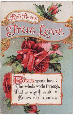 Vintage Postcard Red Roses True Love by Carol Anne's Boutique, via Flickr