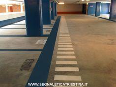 Segnaletica Stradale Triestina: realizzazione stalli auto colorati numerati per parcheggi a pagamento privati
