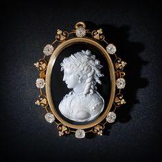 Victorian Diamond Hardstone Cameo Pin - Locket  Gorgeous   Portrait on reverse side
