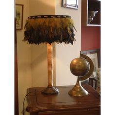 Lámpara sobremesa plumas Simona #Ambar #Muebles #Deco #Interiorismo #Outlet