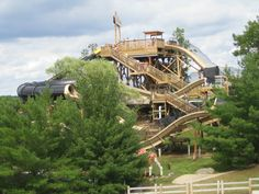 Wisconsin Dells  It's like Las Vegas for kids.  Blocks and blocks of waterslide parks, museums, boat rides...  It's one big city that's an amusement park.