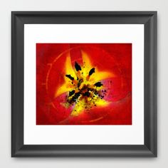 #Red and #Yellow #Flower #Framed #Art #Print