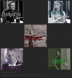 If Hunger Games characters were put into factions! So true but I think Haymitch is more dauntless he not candor at all. My 2 fav books put together!!!!