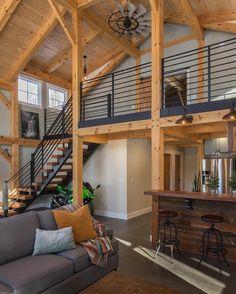 Cabin Design, Loft Design, House Design, Metal Building Homes, Building A House, Quonset Homes, Open Floor Concept, Barn Loft, Modern Barn House