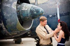 Vintage Pin Up Aviator Engagement ShootBridal Musings Wedding Blog