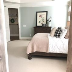 Grey Bedroom Paint, Interior Paint Colors For Living Room, Bedroom Green, Bedroom Colors, Bedroom Ideas, Sherwin Williams Comfort Gray, Sherwin Williams White, Blue Green Paints, Green Paint Colors