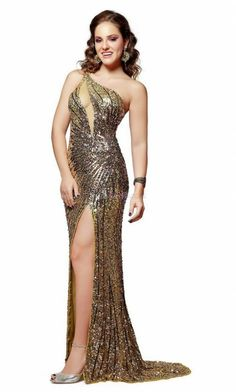 Gold Mermaid/Trumpet Natural Long/Floor-length Sequined Prom Dresses With Sweep/Brush Train PD394D