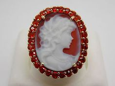 Natural-Mexican-Fire-Opal-and-Carnelian-Cameo-Ring-14k-Solid-Gold-31K