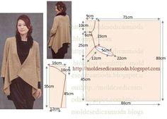 MOLDE DE CASACO Casaco com bicos fácil de fazer. As medidas facilitam a modelagem deste belo casaco. A escolha do tecido fica ao critério de cada um, depen