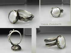 Vesna Kolobaric by VESNAjewelryART - sculptured sterling silver ring with cultivated pearl