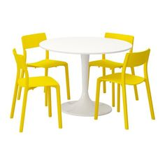 Ikea Table and 4 chairs, white, yellow 18204.20514.346