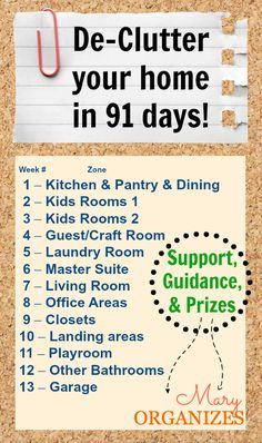 De-Clutter your home in 91 days with this plan.  I am going to try this challenge. I need it so my house can get unpacked too!