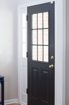 Front Door Painted Black - Sherwin Williams Iron Ore - The Home I Create Front Door Painted Sherwin Williams Iron Ore Black Exterior Doors, Painted Exterior Doors, Black Shutters, Painted Front Doors, Exterior Paint, Inside Front Doors, Iron Front Door, Black Front Doors, Glass Front Door