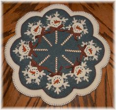 penny rugs | Penny Rug/Candle Mat PATTERN ~*SnOwMaN*~ Applique