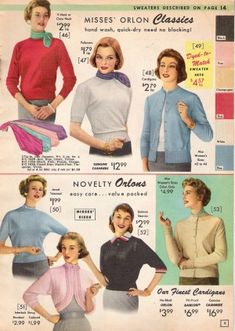 Classic sweaters and cardigans, 1957. #vintage #1950s #knits