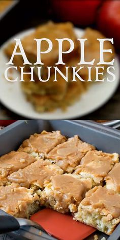 apple desserts Apple Chunkies are super simple to make and are great when you need a quick and easy dessert! A sweet butter and vanilla batter is mixed up with chunks of apples and chopped walnuts then baked. (How easy is that! Smores Dessert, Bon Dessert, Dessert Dips, Köstliche Desserts, Easy Desserts To Make, Easy Potluck Desserts, Tailgate Desserts, Easy Dessert Bars, Cream Cheese Desserts