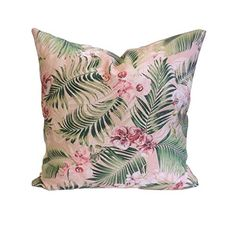 Pink Tropical Palm Tree Leaves Pillow Cover, Orchid Flowers Pillow Case - - Cotton Cushion Cover - 45 x 45 cm