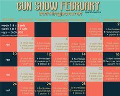 Gun-Show February Shrinking Jeans monthly exercise calendar. Absolutely love! <3