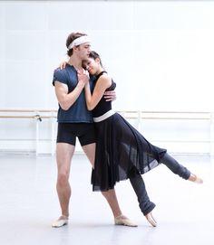 "kameliendame: "" Matthew Ball and Yasmine Naghdi in rehearsal for MacMillan's Romeo and Juliet ph. Andrej Uspenski """