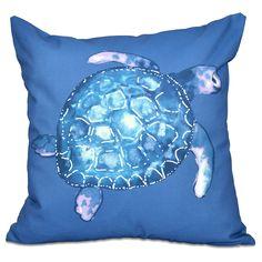 E by Design Sea Turtle Animal Print 20-inch Throw Pillow