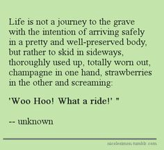 »Life is not a journey to the grave with the intention of arriving safely in a pretty and well-preserved body, but rather to skid in sideways,  thoroughly used up, totally worn out, champagne in one hand, strawberries in the other and screaming:       'Woo Hoo! What a ride!'«     — unknown