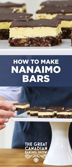 How to make Nanaimo Bars The Great Canadian Baking Show judge Rochelle Adonis gives us a stepbystep guide to making this classic Canadian treat No Bake Treats, No Bake Desserts, Yummy Treats, Delicious Desserts, Dessert Recipes, Health Desserts, Christmas Desserts, Dinner Recipes, Nanaimo Bars