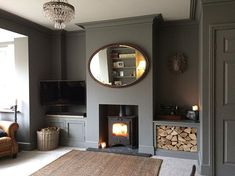 33 Super Ideas For Wood Storage Living Room Log Burner 33 Super Ideas For Wood Storage Living Room Log Burner 1930s Living Room, Victorian Living Room, Dark Living Rooms, Living Room Grey, Home Living Room, Farrow And Ball Living Room, Dark Wood Furniture Living Room, French Furniture, Modern Living