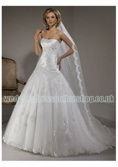 Organza Strapless Rouched Bodice with A line Skirt 2011 Hot Sell Custom Made Wedding Dress WM-0434