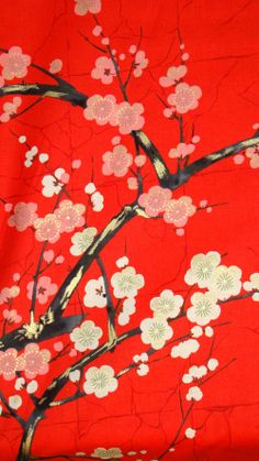Color 4 Japanese Asian Fabric Cherry Blossom BranchesRed by Shiboridragon