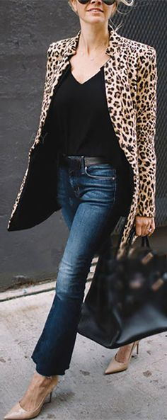 64 OFF>>Leopard Printed Cardient Long Sleeve Fashionable Outwear Coat Casual Fall Outfits, Classy Outfits, Stylish Outfits, Cool Outfits, Blazer Fashion, Fashion Outfits, Womens Fashion, Woman Outfits, Mode Ab 50