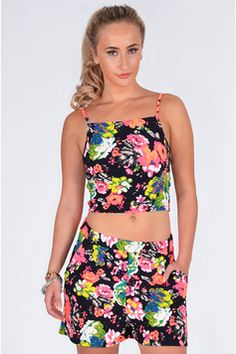 Kendal Floral Print Top And Short Two Piece Set  In Black